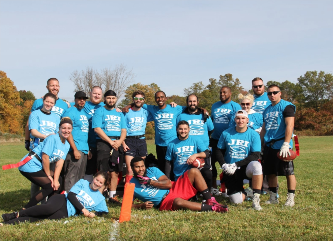 One of the teams at JRI's Annual DeMarco Flag Football Tournament