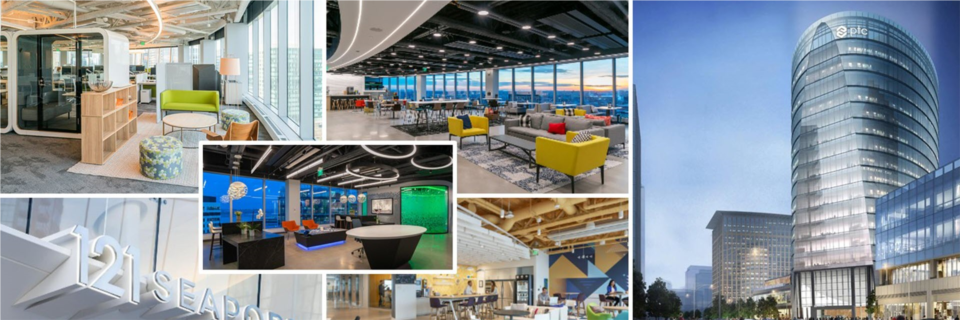 PTC's global headquarters, located at 121 Seaport Blvd. in the heart of Boston's Innovation District, was designed with collaboration in mind. From standard workstations that feature dual-monitors, to varying-sized meeting rooms, to soft-seating options, there is a space built for anything you can imagine.