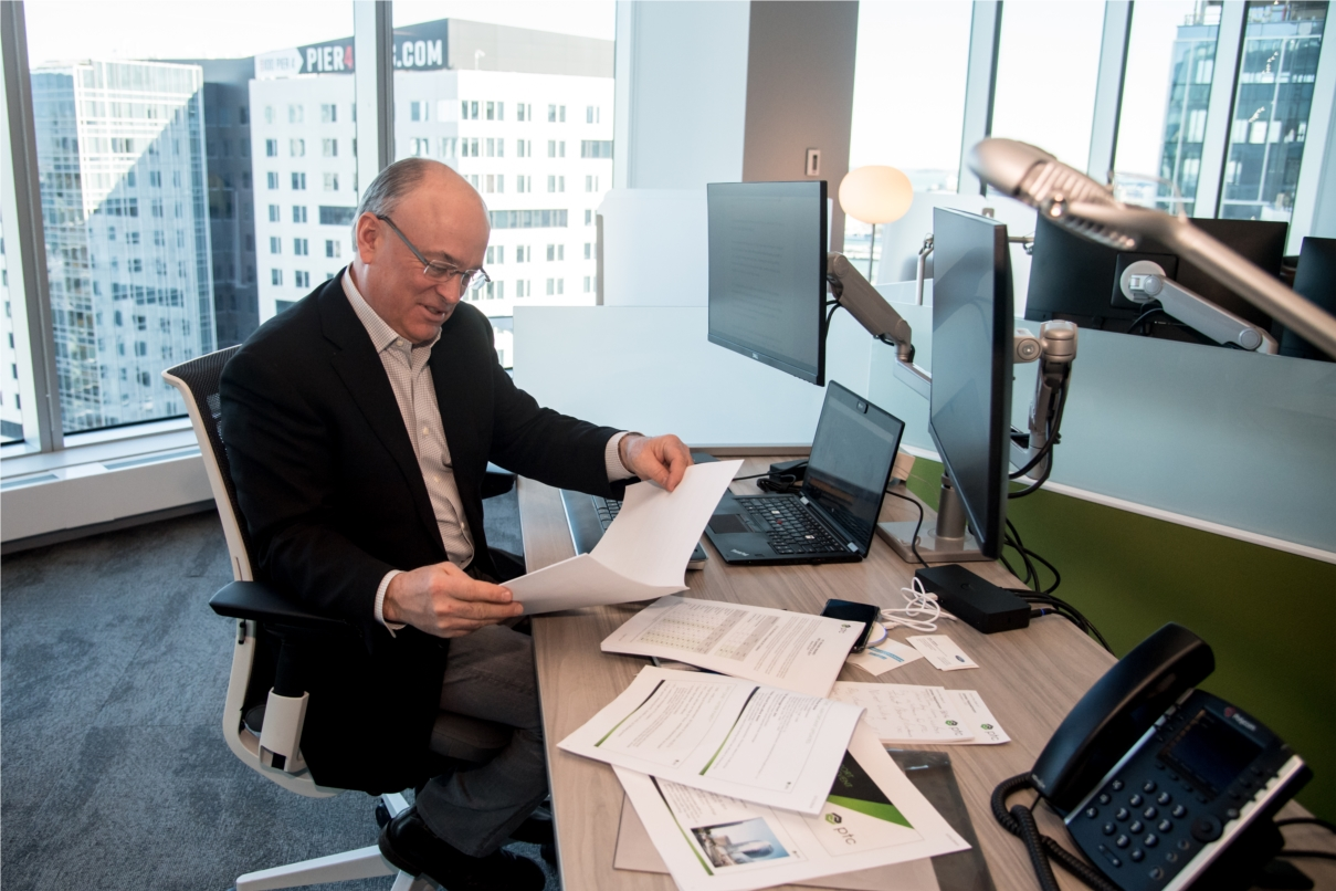 All employees enjoy open and unassigned workstations in our headquarters at 121 Seaport, even our President & CEO, Jim Heppelmann.
