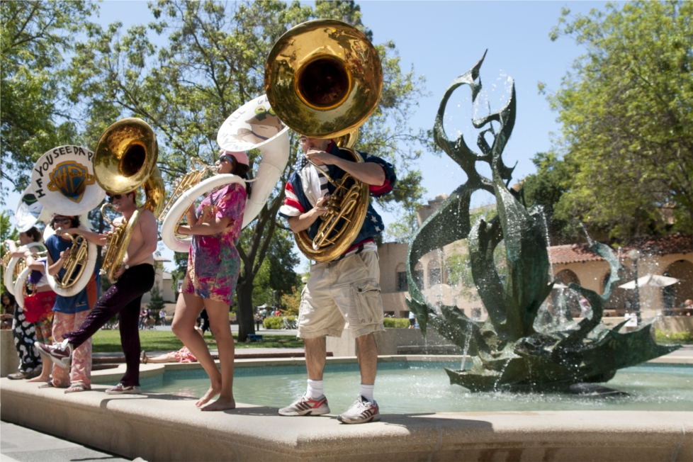 The Stanford Band does its thing near The Claw water fountain. Photo: Linda A. Cicero / Stanford News Service.