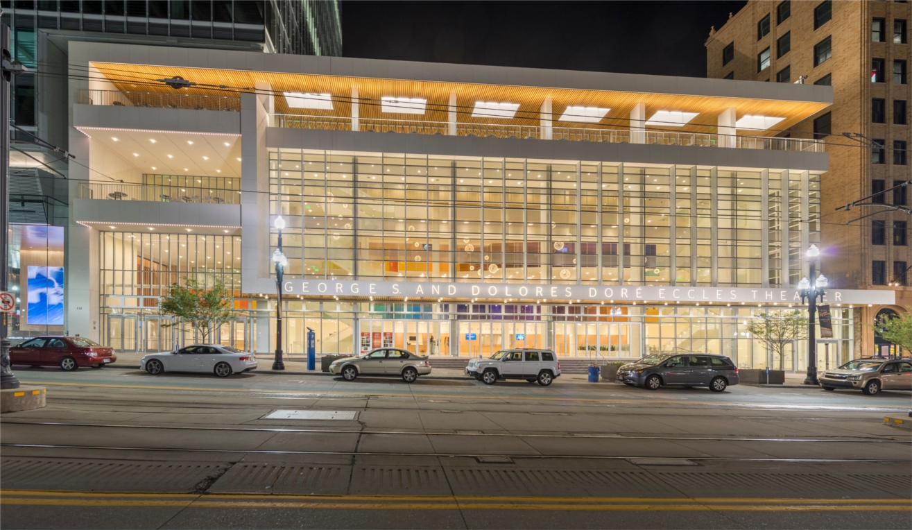 The George S. and Dolores Dore Eccles Theater in Salt Lake City, a prominent and iconic structure constructed by Layton Construction, which contributes to the quality of life of all Utahns.