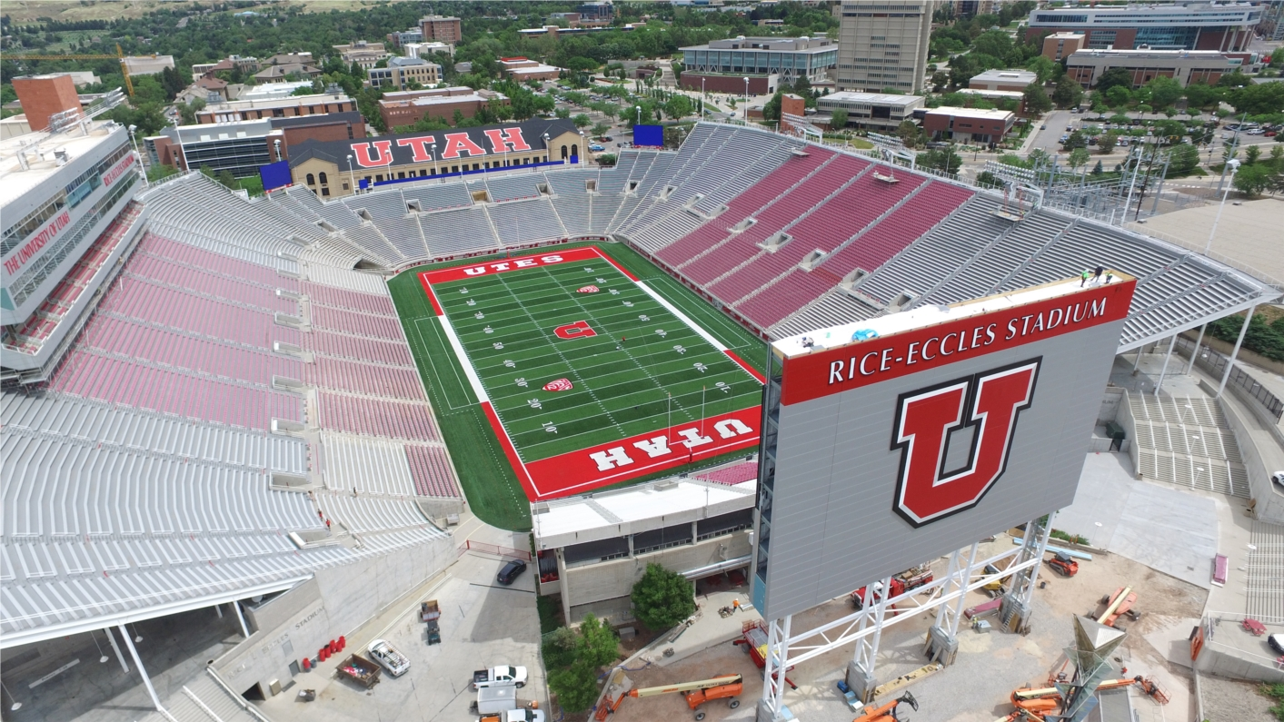 Rice-Eccles Stadium, built by Layton Construction, is the home of the University of Utah Football, and has an historic past as the venue for opening and closing ceremonies of the 2002 Salt Lake Olympic Winter Games.
