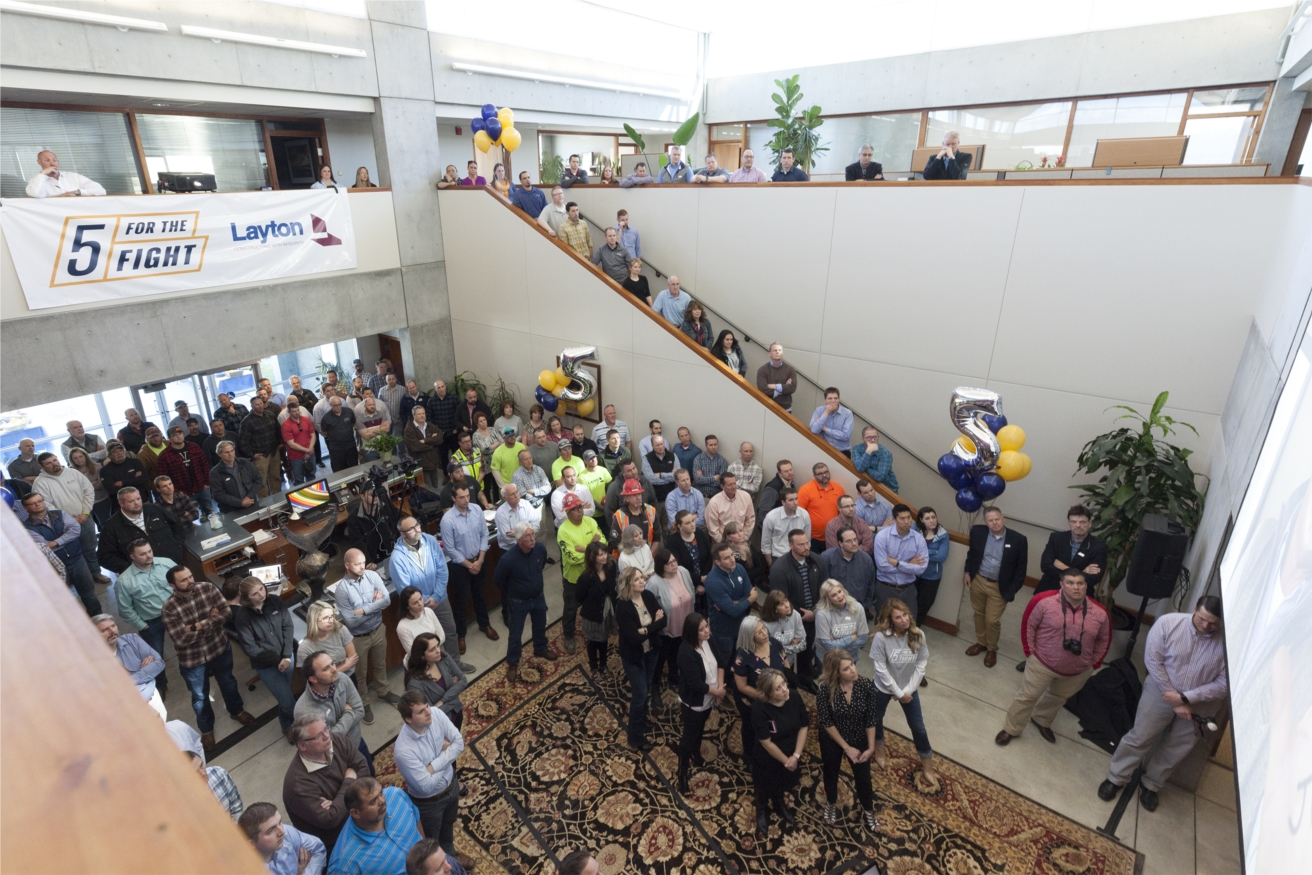 Layton Construction's employees celebrate the launch of the company's 5 For The Fight campaign against cancer. The company and its employees have joined together, through company donations and an employee payroll deduction program to give to cancer research programs, including Huntsman Cancer Institute in Salt Lake City.