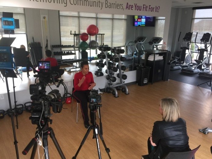 An MTM staff member participates in filming for a documentary about RealAppeal, an MTM-sponsored employee weight loss program.